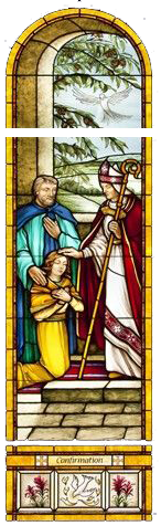 Stained Glass picture of priest confirming a parishioner with oil