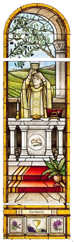 Stained Glass picture of priest holding a chalice with the precious blood