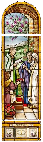 Stained glass picture of priest marrying two people